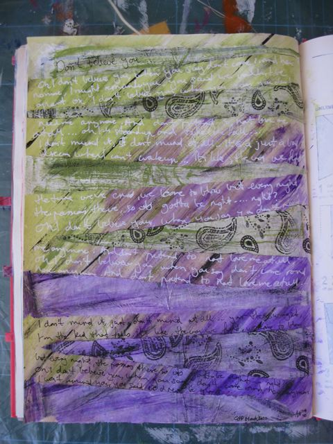 Mixed media art journalling with paints and tissue paper