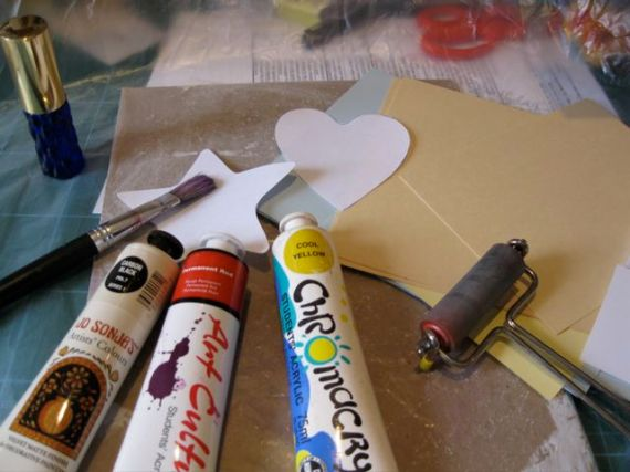 Gathering supplies for monoprinting