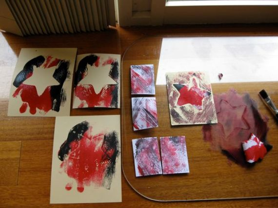 mono printing in red