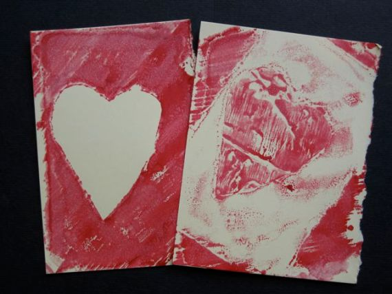 mono printing hearts one and two