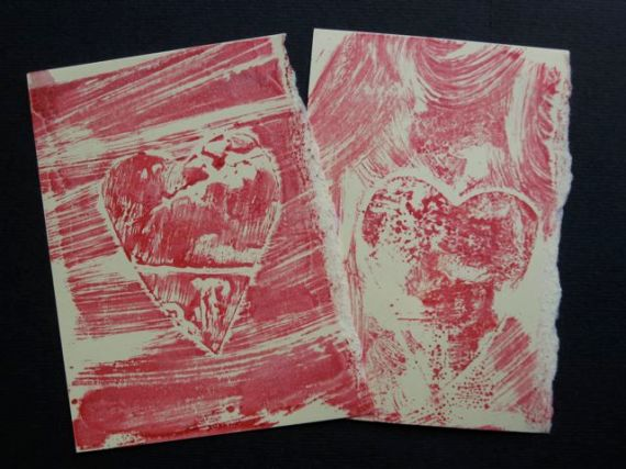 mono printing with red paint and heart template
