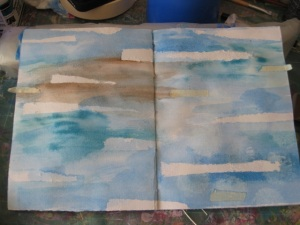 using masking tape and tim holts inks to create an interesting background