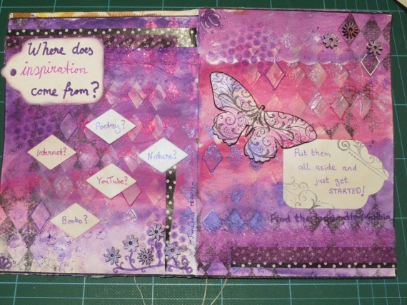 purple art journal layout