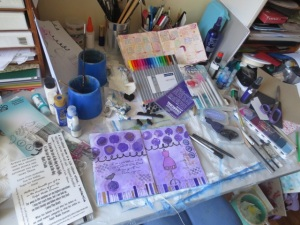 Michelle Brown's messy craft desk