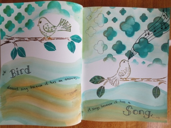 Stencil Girl and acrylic paints art journal layout