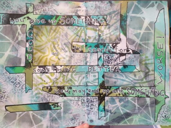mixed media art journal with stencil girl stencils